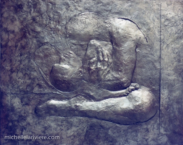 "Completed ""Mother and Child"" with final bronze patina."